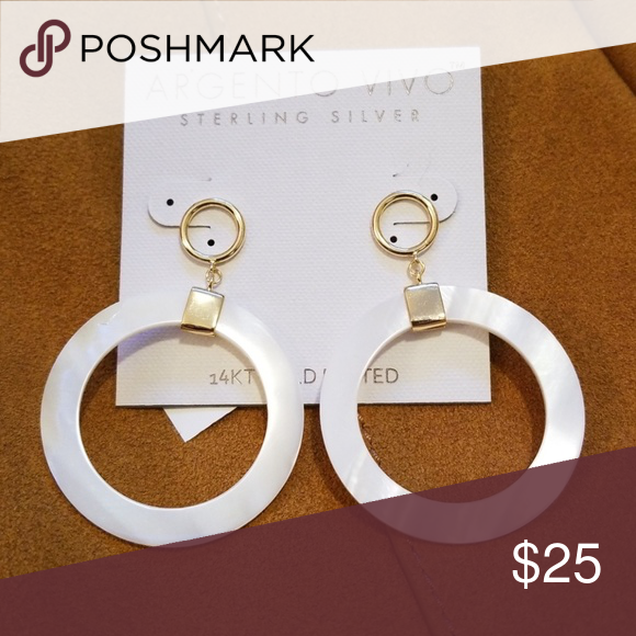 361101d6a Argento Vivo Hoops Beautiful drop hoops! Mother of Pearl &14k gold plated. Argento  Vivo Jewelry Earrings