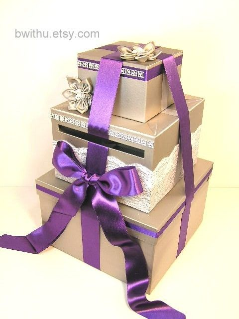 Silver And Purple Wedding Card Box Gift Card Box By Bwithustudio 119 00 Card Box Wedding White Wedding Card Box Wedding Card Boxes Purple