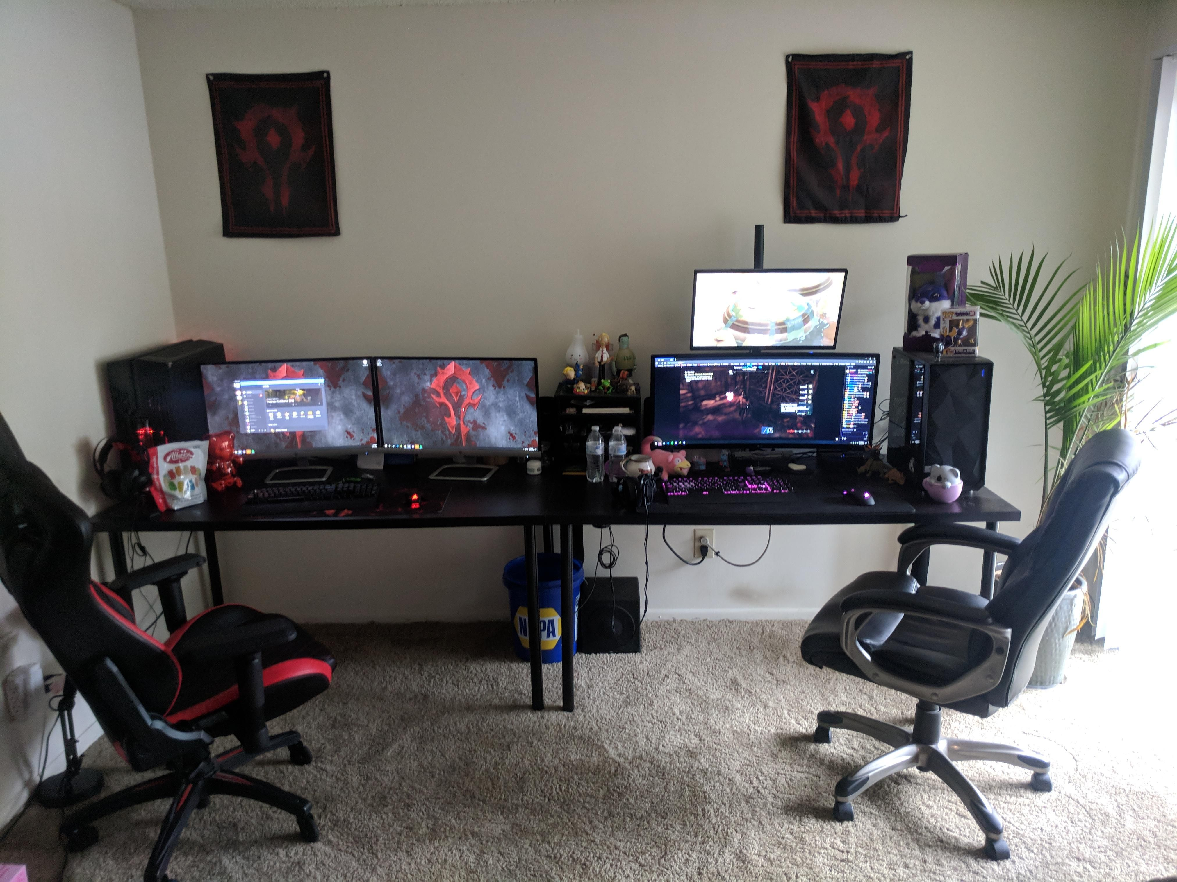 First Apartment Setup How Should We Fill Up The Empty Space On The Wall Computer Gaming Room Gaming Room Setup Game Room Design