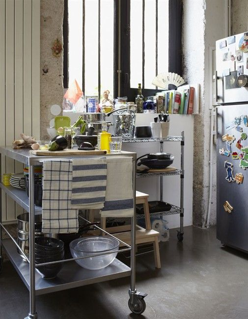 An industrial space in Paris - stainless steel cart on ...