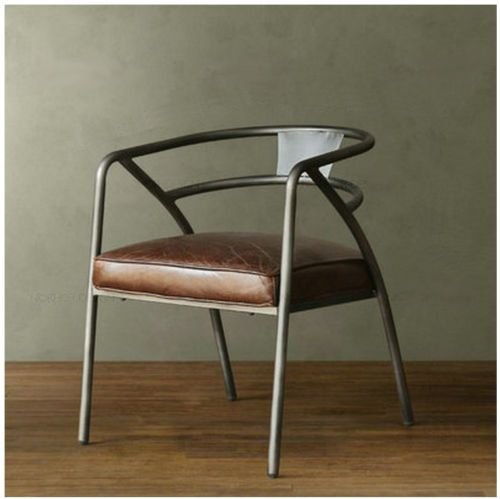 Chaise Metal Simili Cuir Design Industriel Luxe Loft Art