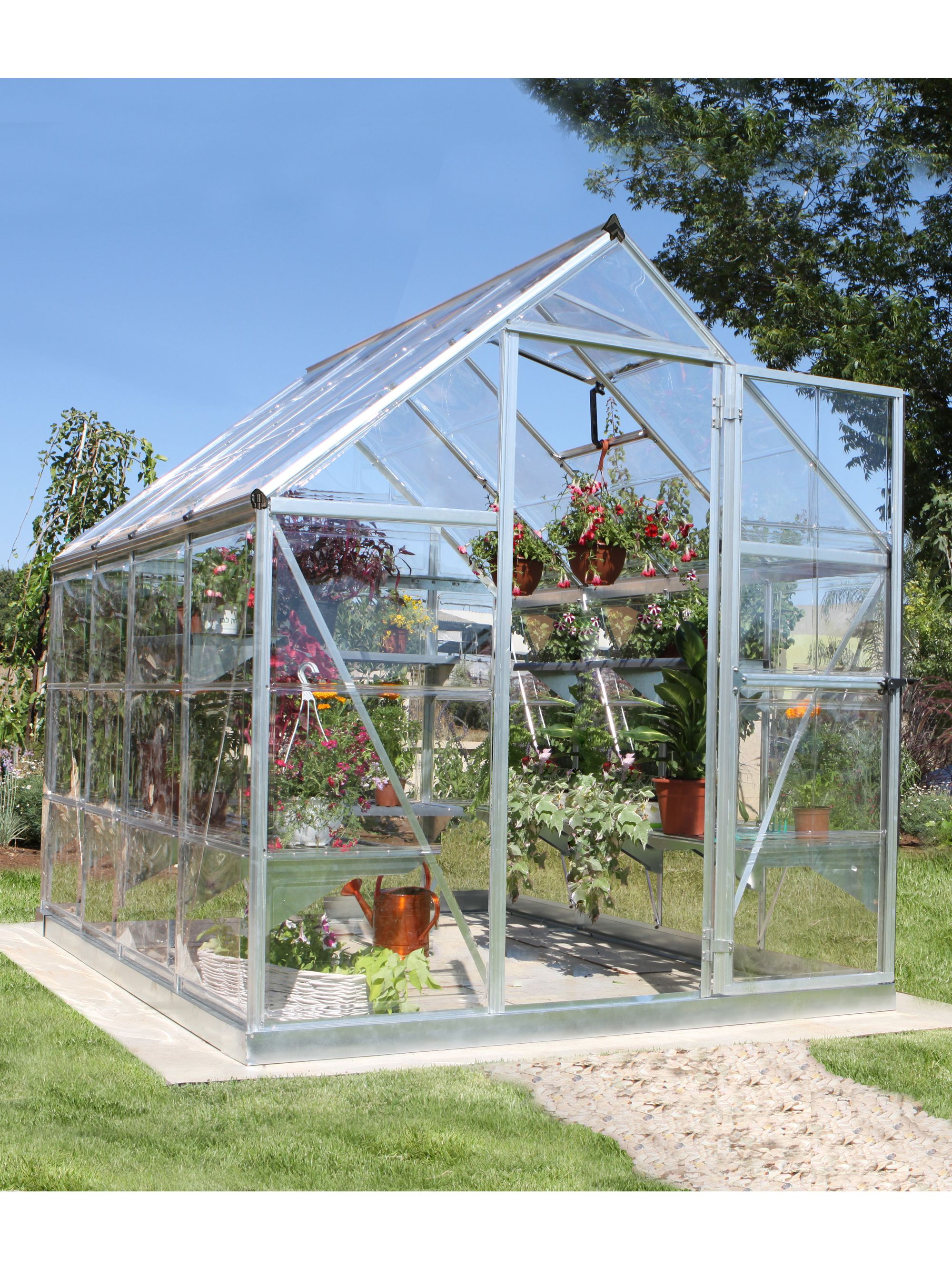 nature greenhouse 6x8 | polycarbonate greenhouse with galvanized