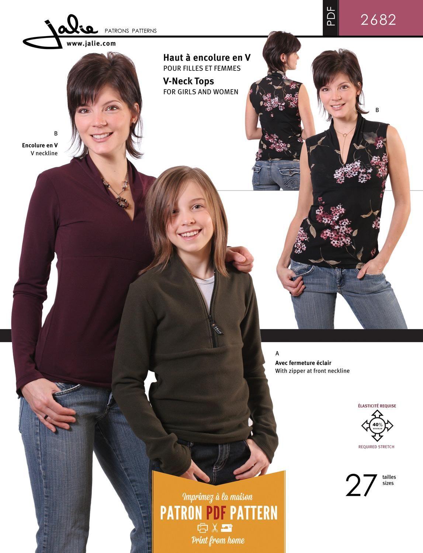 Jalie 2682 - V-Neck / Half-Zip Top PDF Pattern | DIY kläder | Pinterest