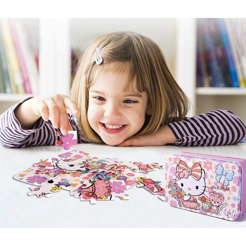 e1d2332f4 Amazon.com: NEILDEN 60 Pieces of Hello Kitty Jigsaw Puzzles - Flowery Jigsaw  Puzzles for Children and Girls to Learn and Play, Beautiful Carton Puzzles  for ...