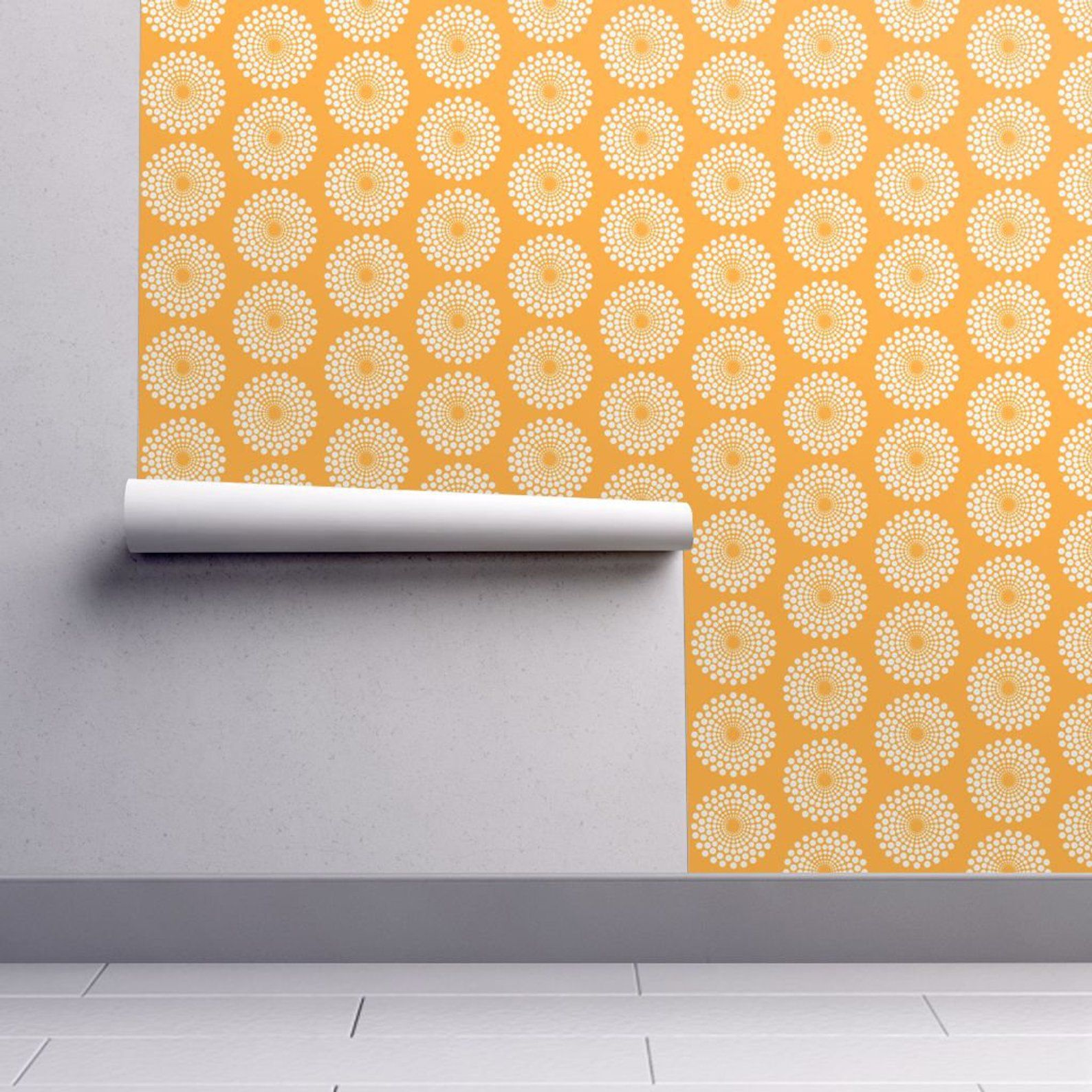 Removable Wallpaper Blue Orange Watercolor Autumn Shapes Peel And Stick Wallpaper Nursery Wallpaper Self Adhesive Wallpaper Removable Wallpaper Nursery Wallpaper Removable Wallpaper Kitchen