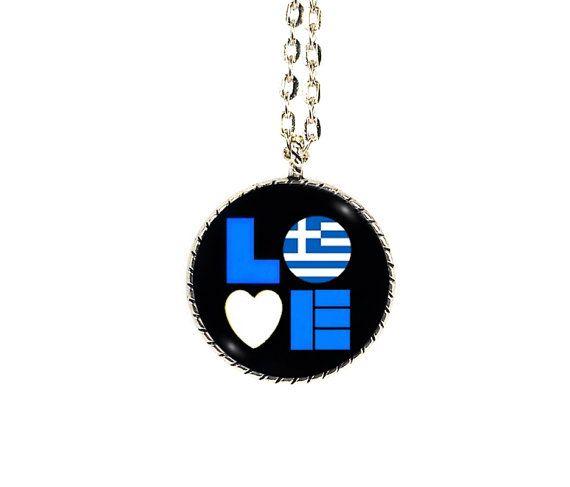 Greek Flag, Glass Pendants, Black Blue White, Flag Love, Greek Love, International Flags, Patriotic Necklace, Love for Greece, I Love Greece