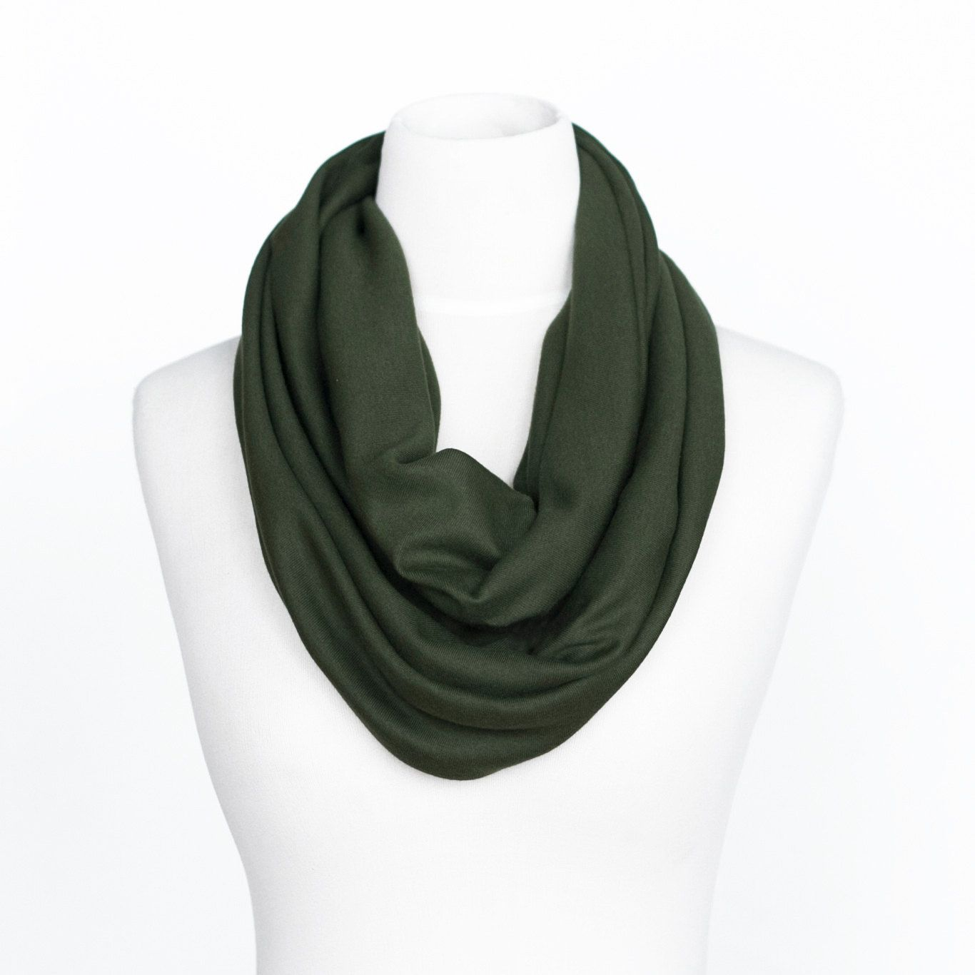 Olive Green Chunky Infinity Circle Scarf Stretch Jersey Knit FREE SHIPPING. $14.00, via Etsy.