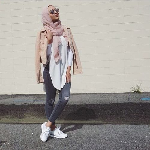 casual sporty hijab outfit, Long cardigans and vests hijab trends http//www