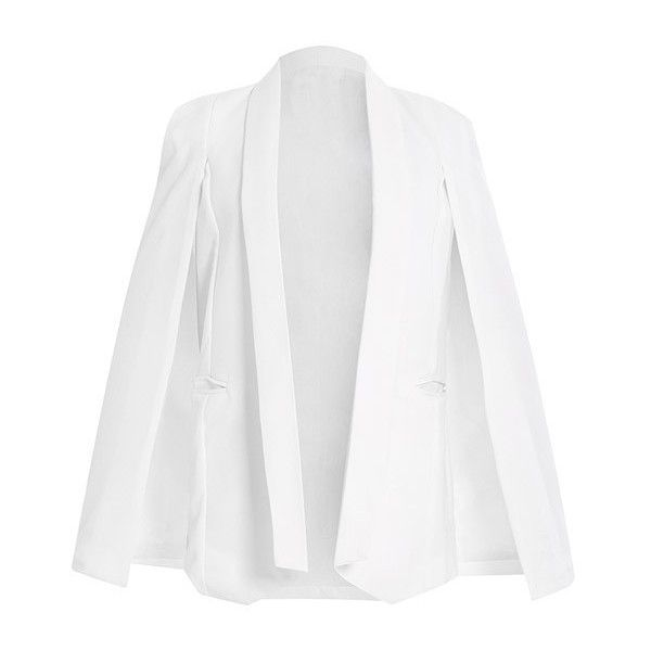 Split Sleeve Angled Hem Cape Blazer ($26) ❤ liked on Polyvore featuring women's fashion, outerwear, jackets, blazers, blazer cape, cape sleeve jacket, white blazer, white cape coat and cape coat