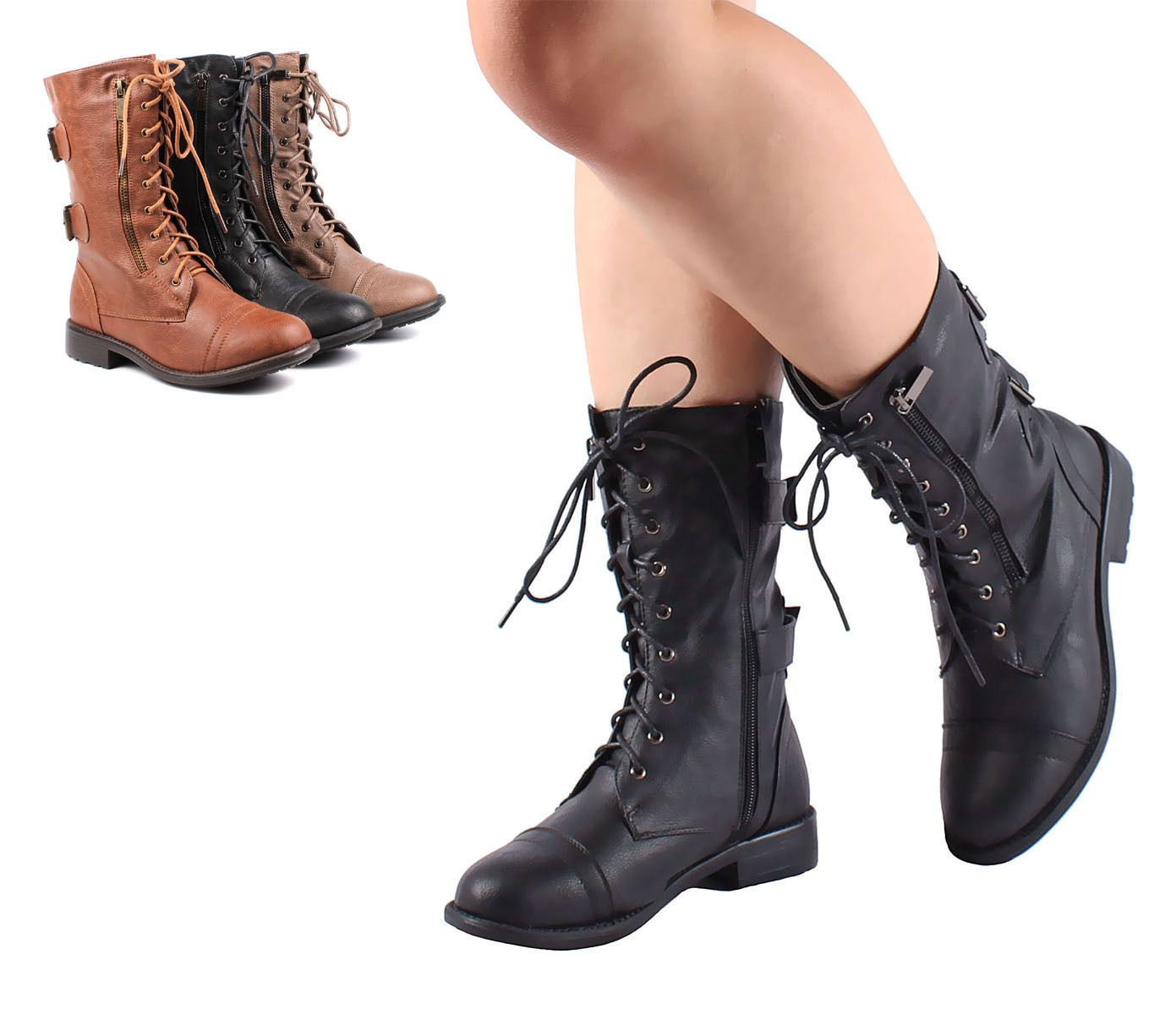Mid Calf Boots Lace Up Low Heel Shoes