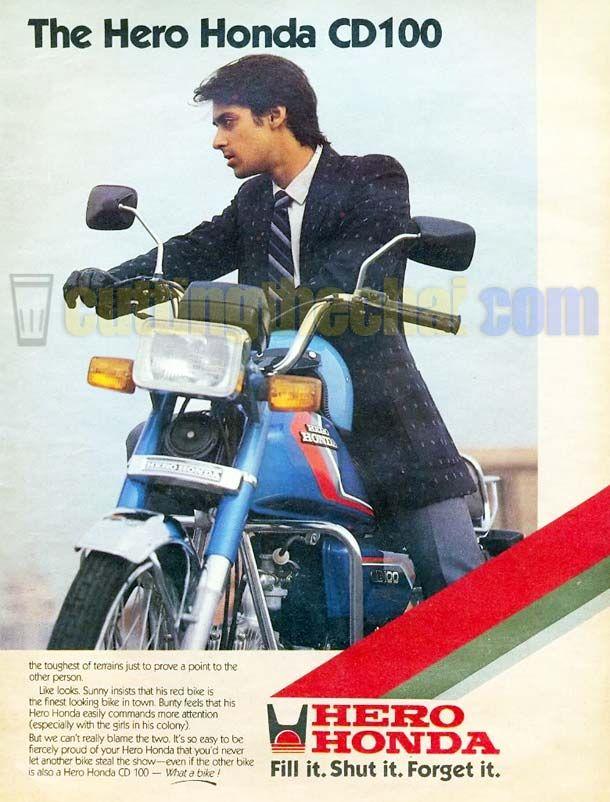 Salman Khan in his 20s in a 1980s ad for Hero Honda CD100