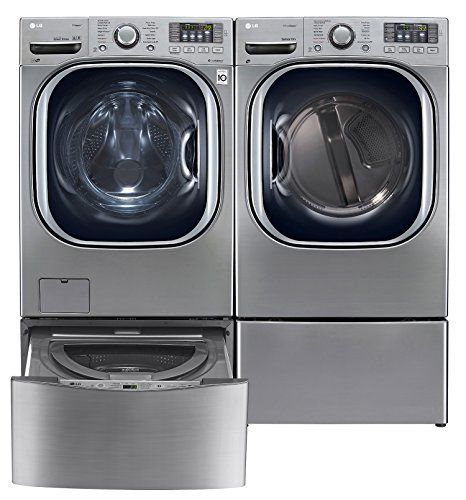 Lg Twinwash Graphite Steel Front Load Laundry Pair With Remote Control That Magnetizes To The Side If Washer Love