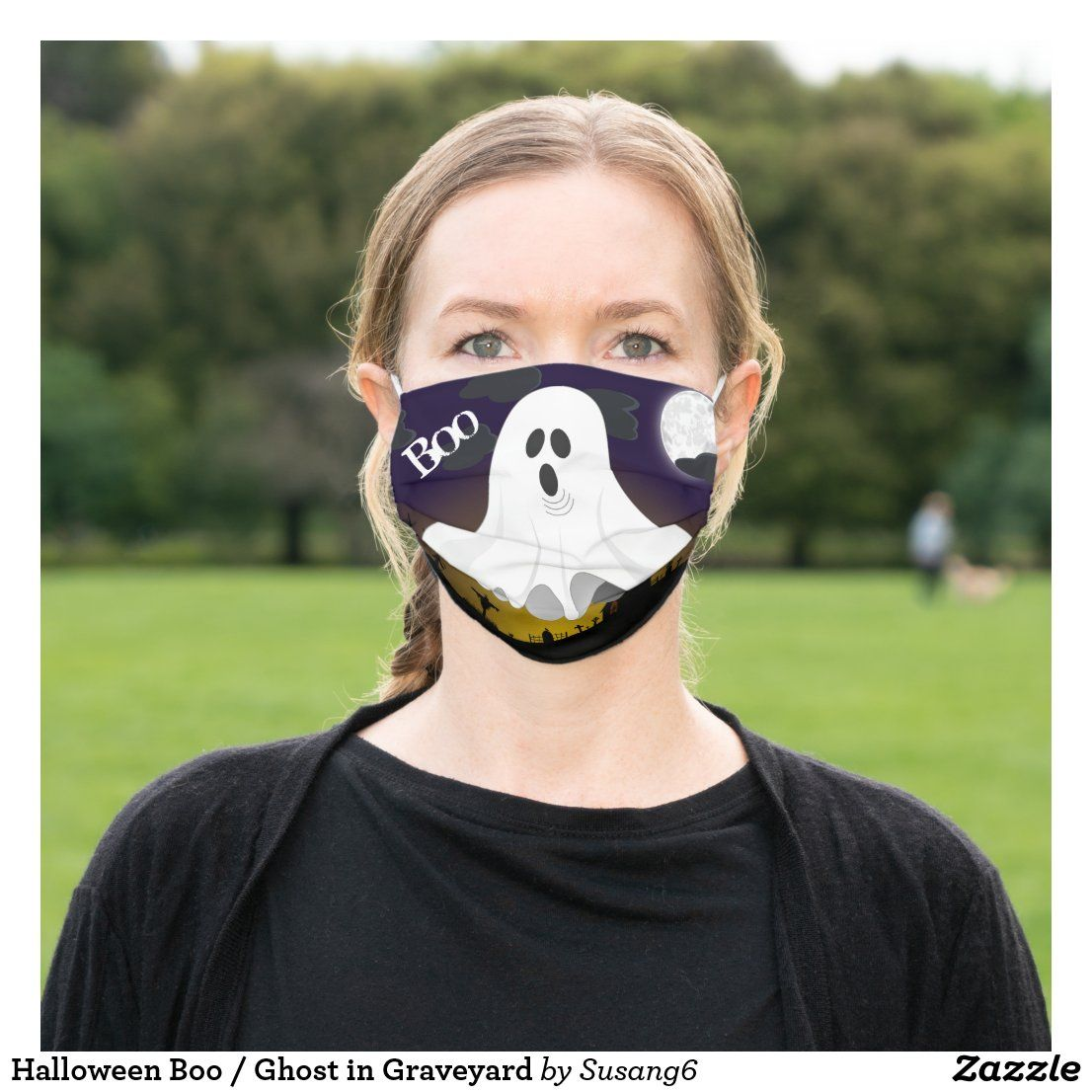 Halloween Boo Ghost In Graveyard Cloth Face Mask Zazzle Com In 2020 Cute Sloth Animal Pattern Sloth Stuffed Animal