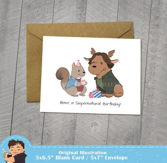 Supernatural Birthday Card Moose And Squirrel Approximately 5 X 7
