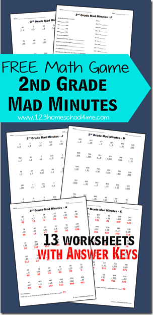 Free Math Games: 2nd Grade Mad Minutes | Fun math games, Homeschool ...