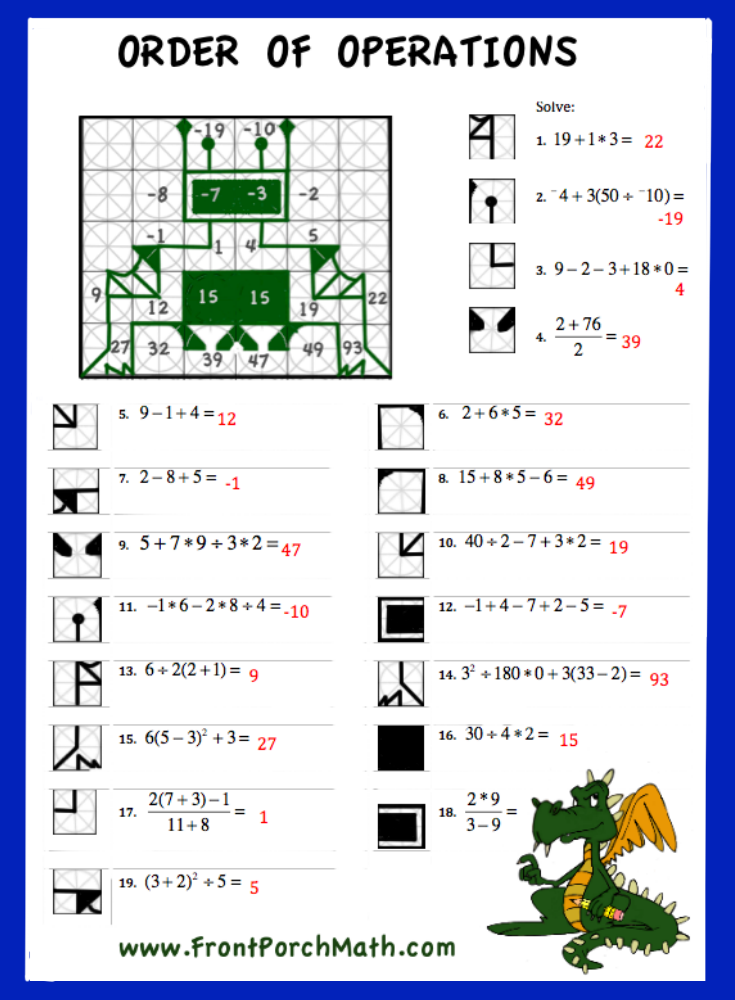 Free Worksheet to practice Order of Operations from Front