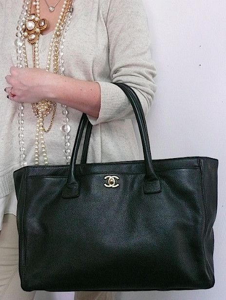 d391d88cd182 Authentic Chanel Cerf Executive Black Caviar Tote