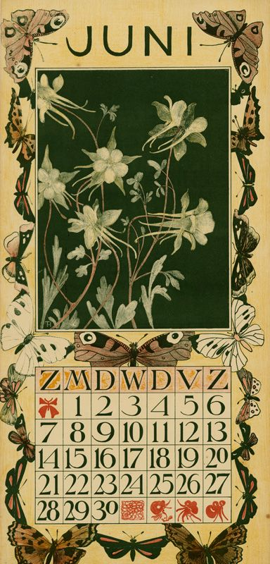 prior pin: calendar 1903 juni Theodoor van Hoytema (illustrator) Tresling & Co. (publisher)