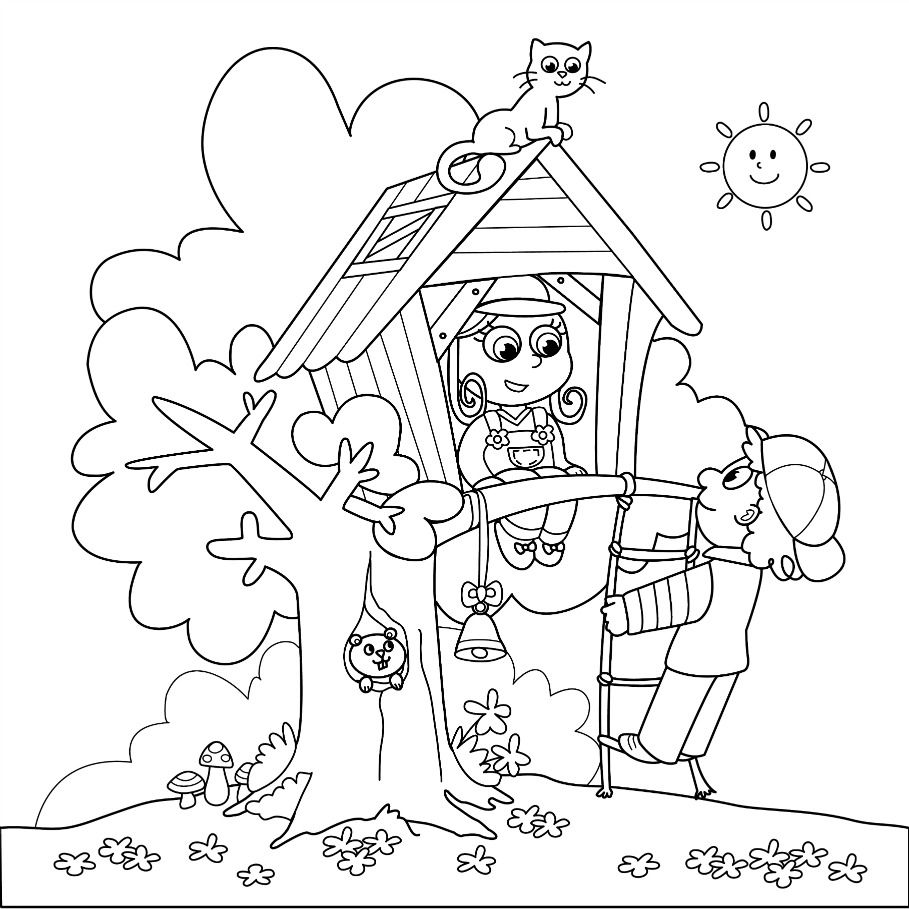 nice Arbor Day Treehouse Coloring Page And Tree Song Kiboomu