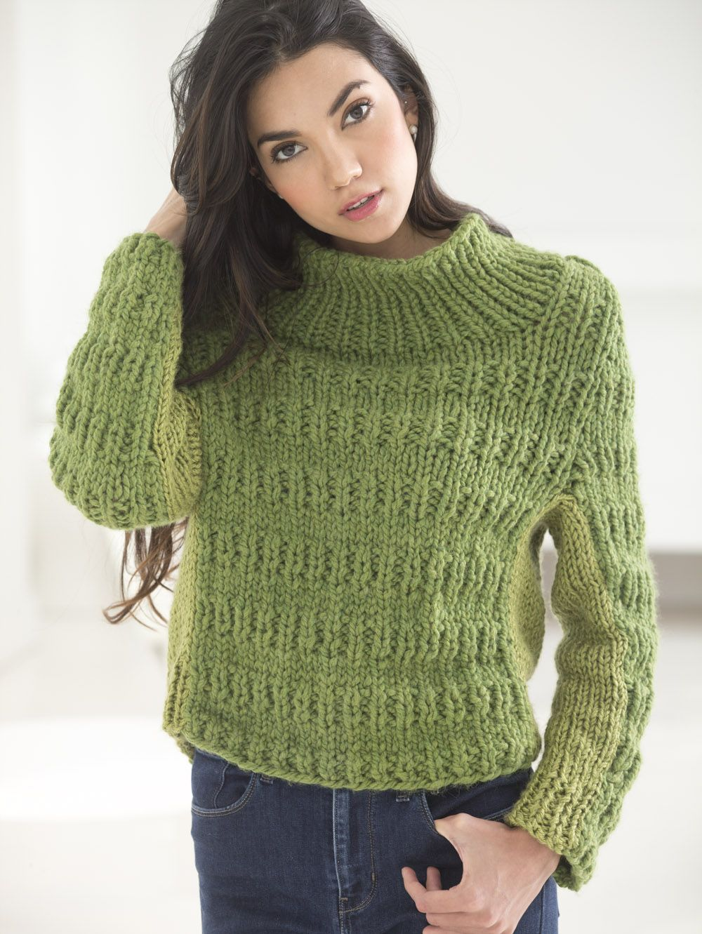 Knit this cozy pullover with our yarn of the month! Pattern calls ...