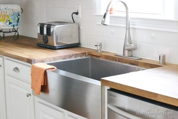Kitchen Makeover Reveal With Images Trendy Farmhouse Kitchen Ikea Butcher Block Countertops Stainless Steel Farmhouse Sink