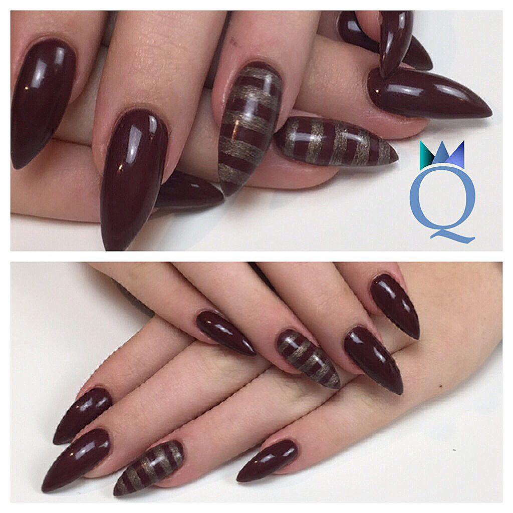stilettonails #gelnägel #nägel #darkbrown #grey #stripes ...