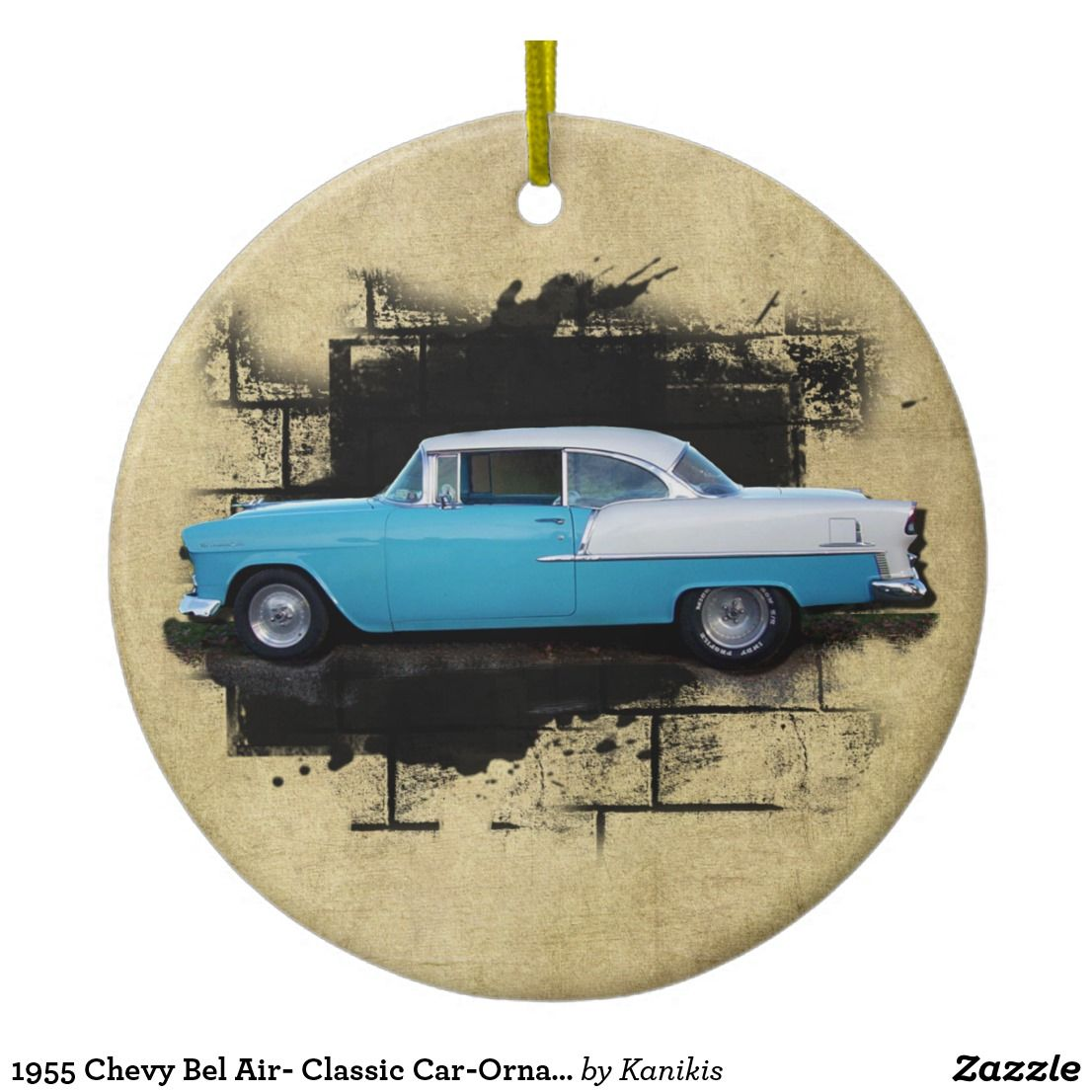 1955 Chevy Bel Air- Classic Car-Ornament Ceramic Ornament | Zazzle.com