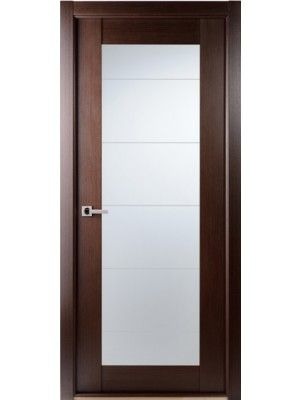 Contemporary African Wenge Interior Single Door Lined Frosted Glass