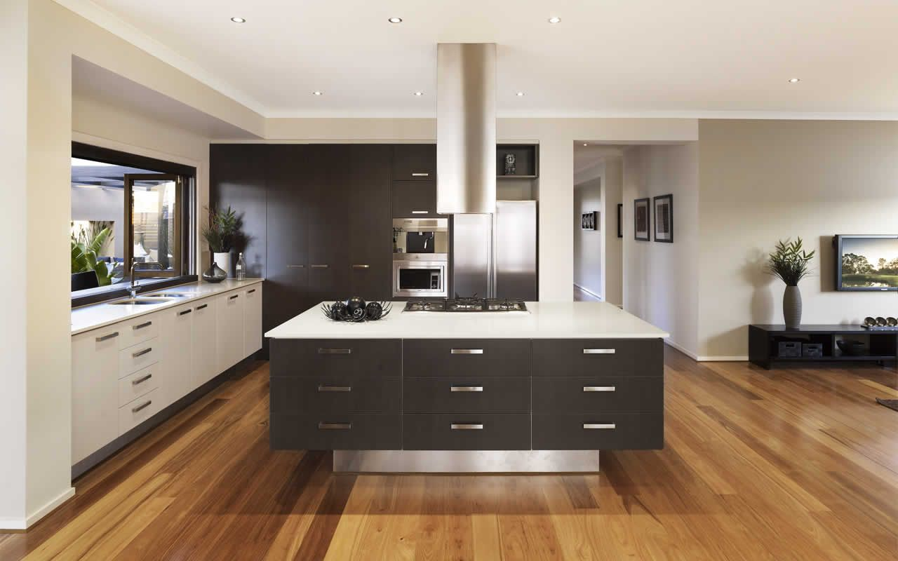 7 Recommended Kitchen Decorating Themes For Perfecting: Open Plan Living Kitchen Detail Drawer Storage In Island