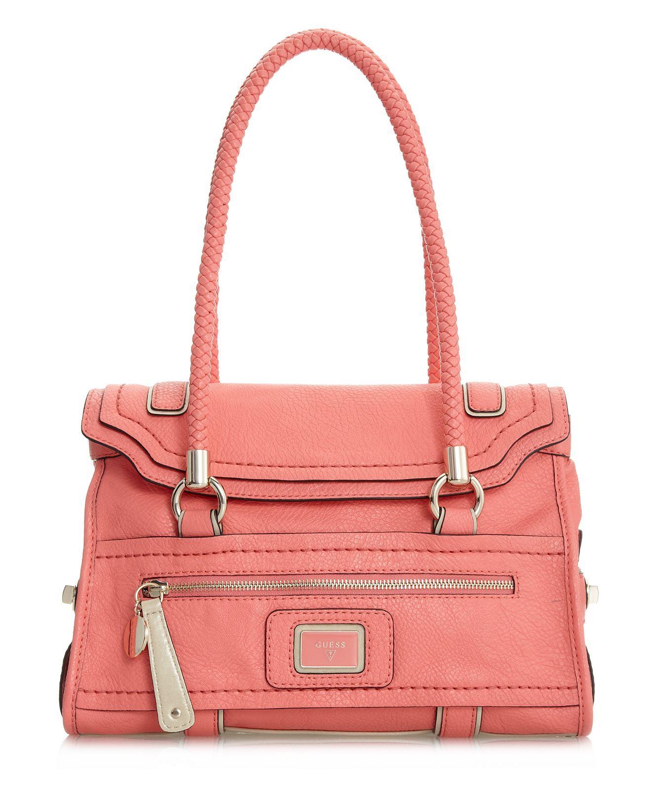 GUESS Handbag, Talina Flap Satchel in Coral