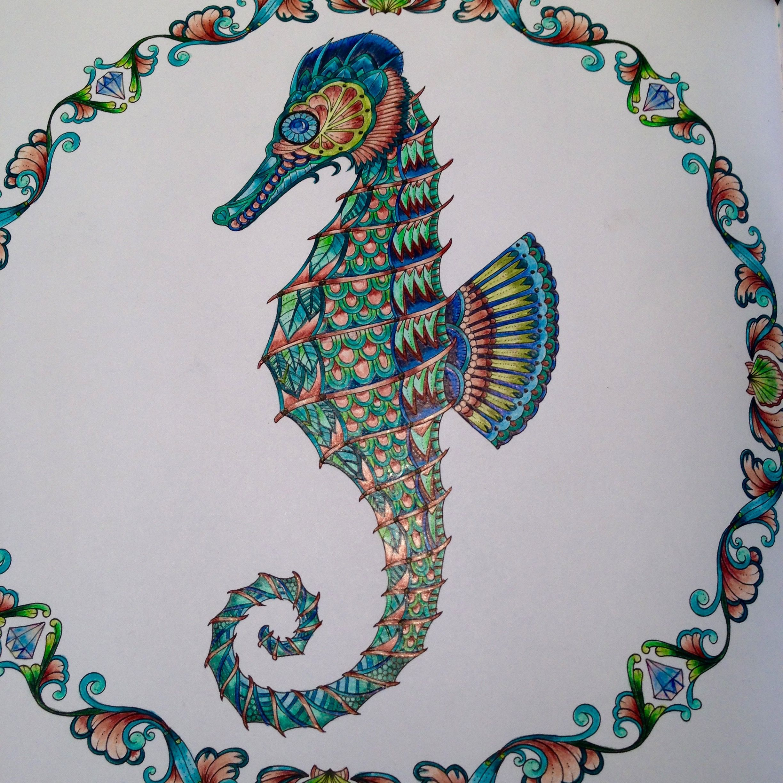 Ocean Colors Johanna Basford Adult Coloring Books Colored Pencils Colouring Techniques Zen Doodle Color Art Seahorses