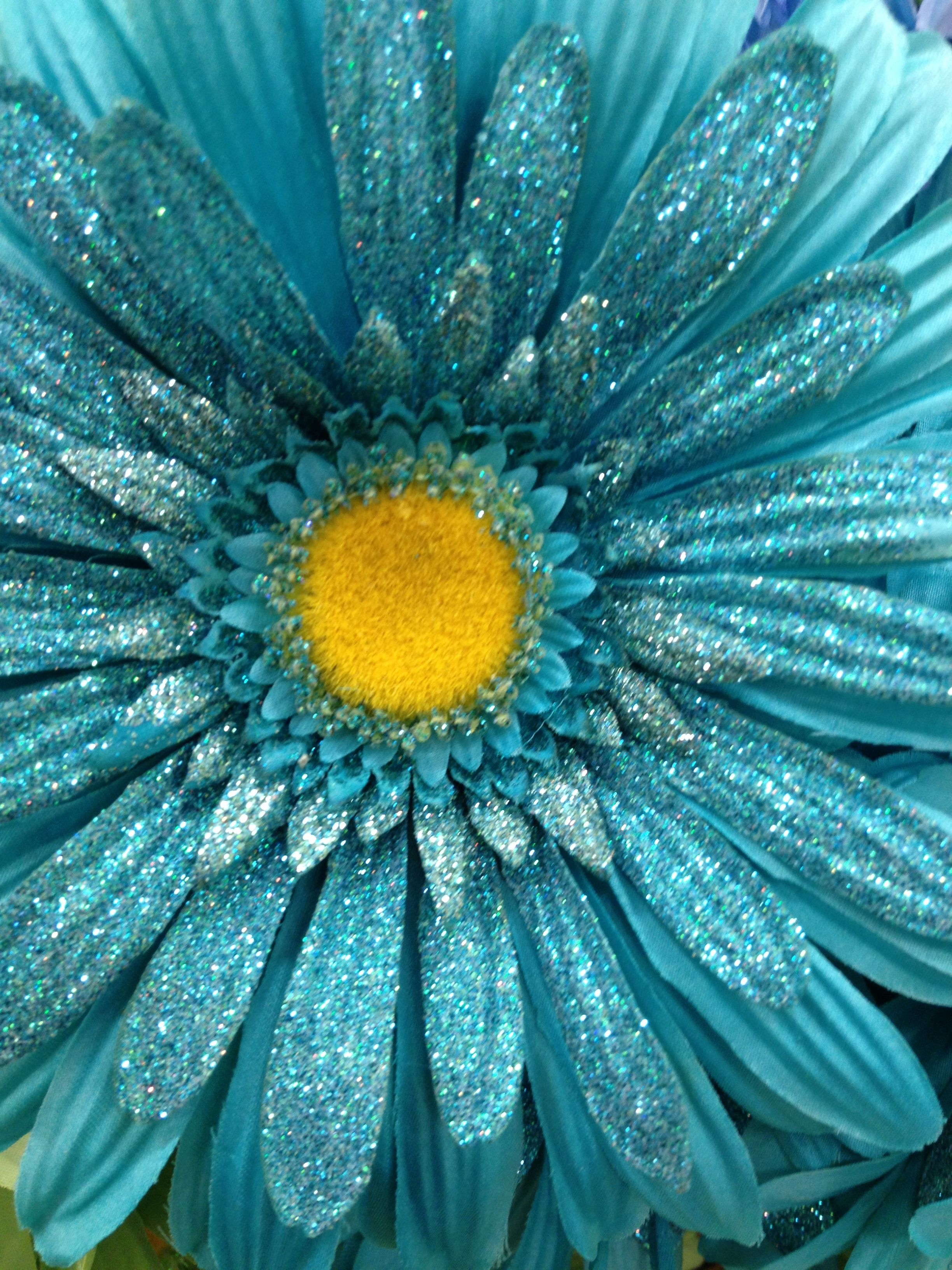 Glittery Flower 5th Chakra Turquoise Tjn Teal