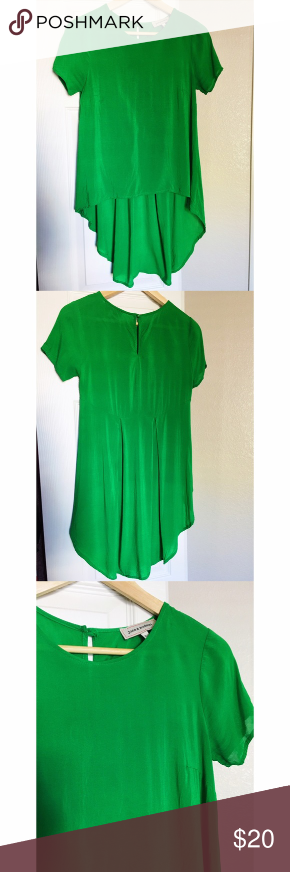 Blouse Beautiful high low green blouse. Size XS. No stains or holes. Brand is June & Hudson. Nordstrom Tops Blouses