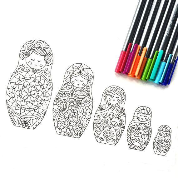 Matryoshka Doll Coloring Page download, adult coloring page, Kids ...