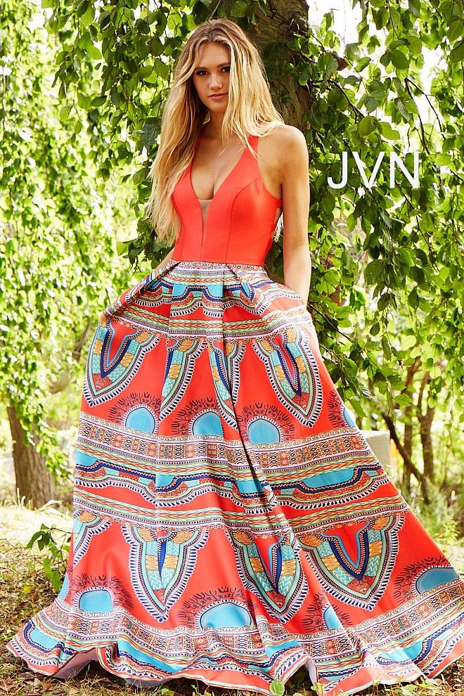 Red print long A line plunging neck open back sleeveless ...