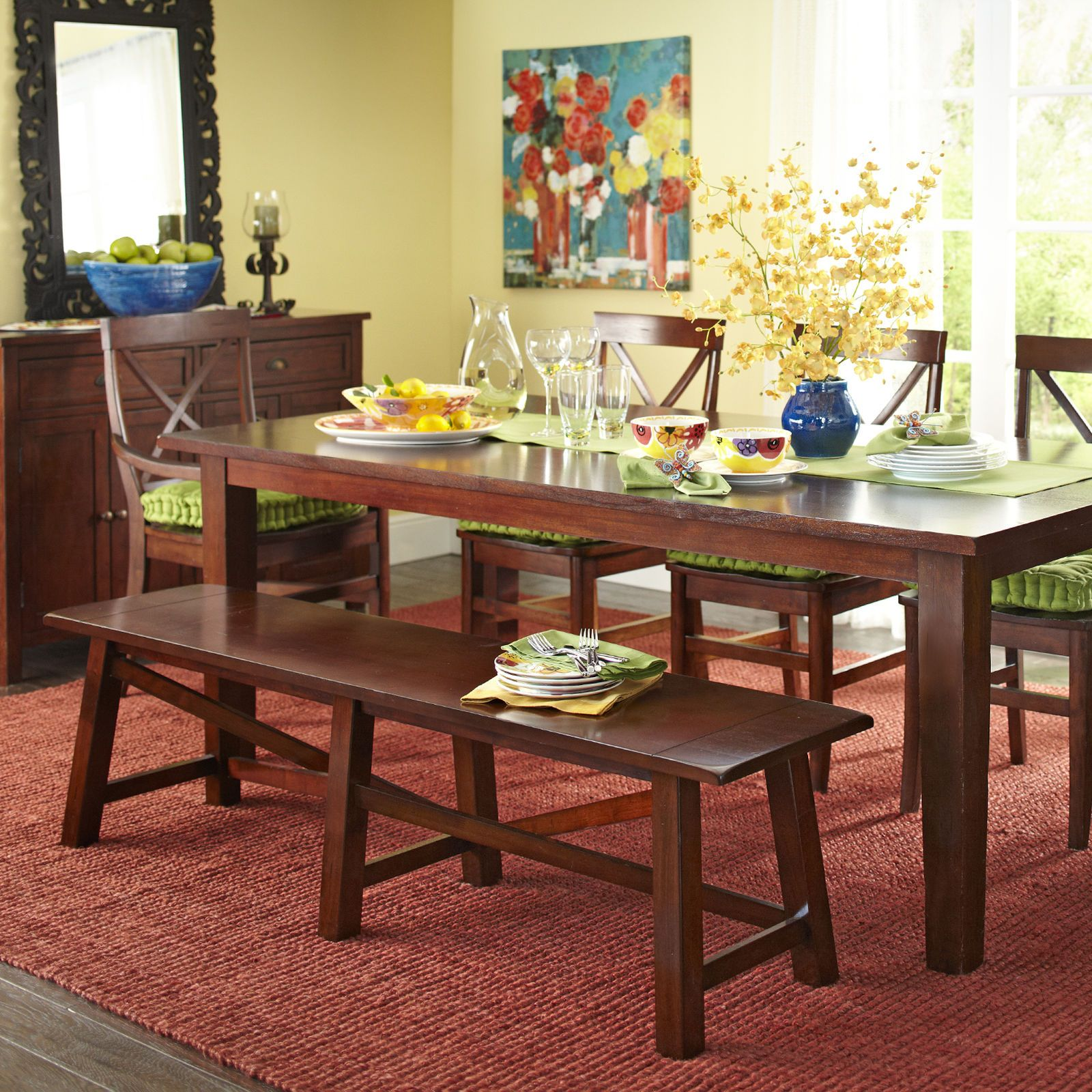 Torrance Mahogany Brown Dining Bench - Pier 1 Imports