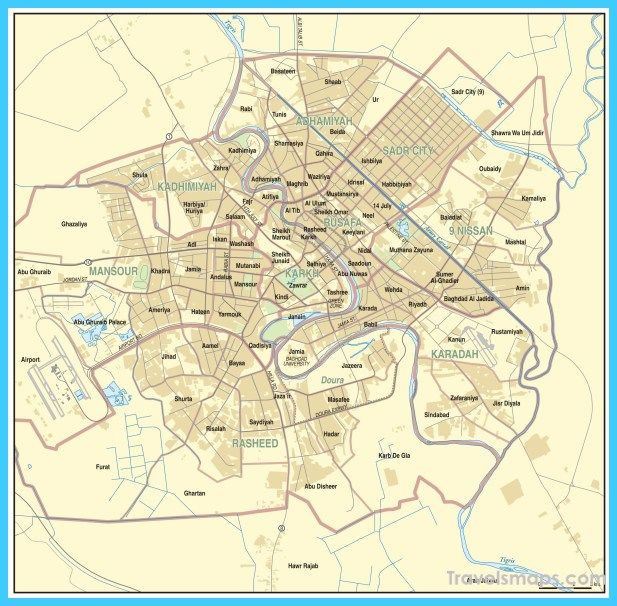 cool Map of Baghdad | Travelsmaps | Baghdad, Map, Map diagram