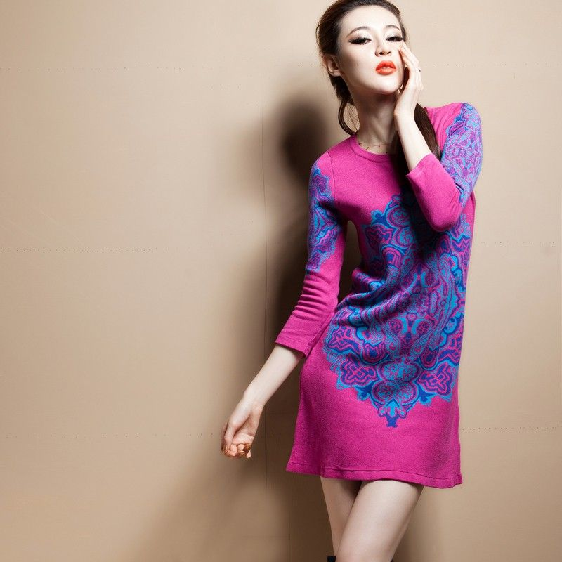Rosy Visage. Chinese Vintage Style Doulbe Knitting Jacquard Wool Dress