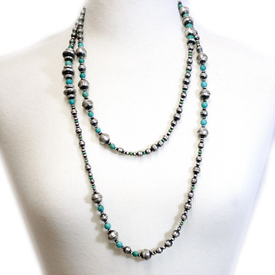 traditional sterling silver and turquoise antiqued beaded navajo necklace
