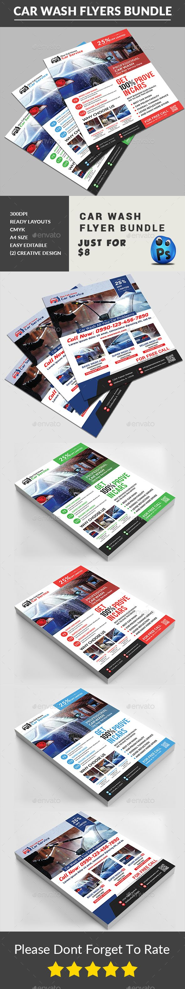 car wash flyers bundle flyer design templates cars and flyers car wash flyers design template bundle corporate flyers design template psd here