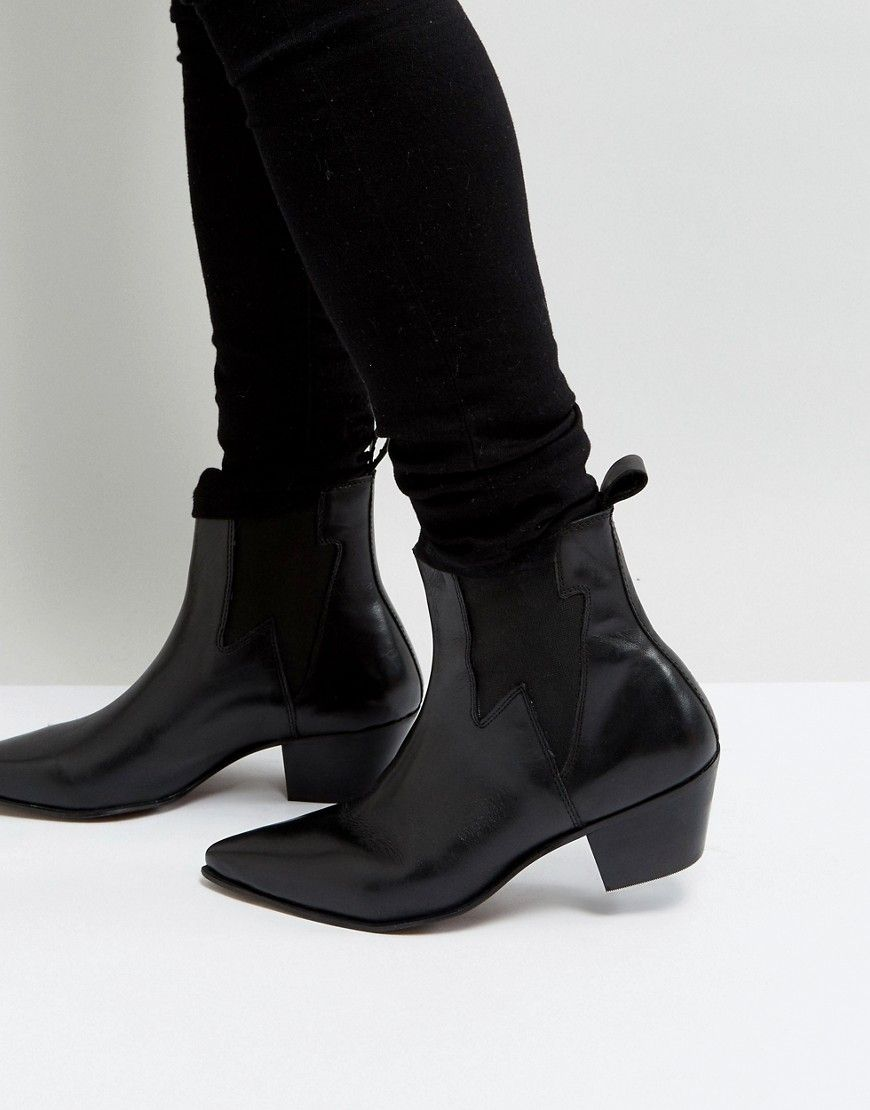 ASOS Stacked Heel Boots In Leather With Lightening Detail hoIPebGfP