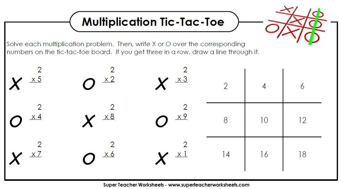 Play multiplication tic-tac-toe! | Math - Super Teacher Worksheets ...