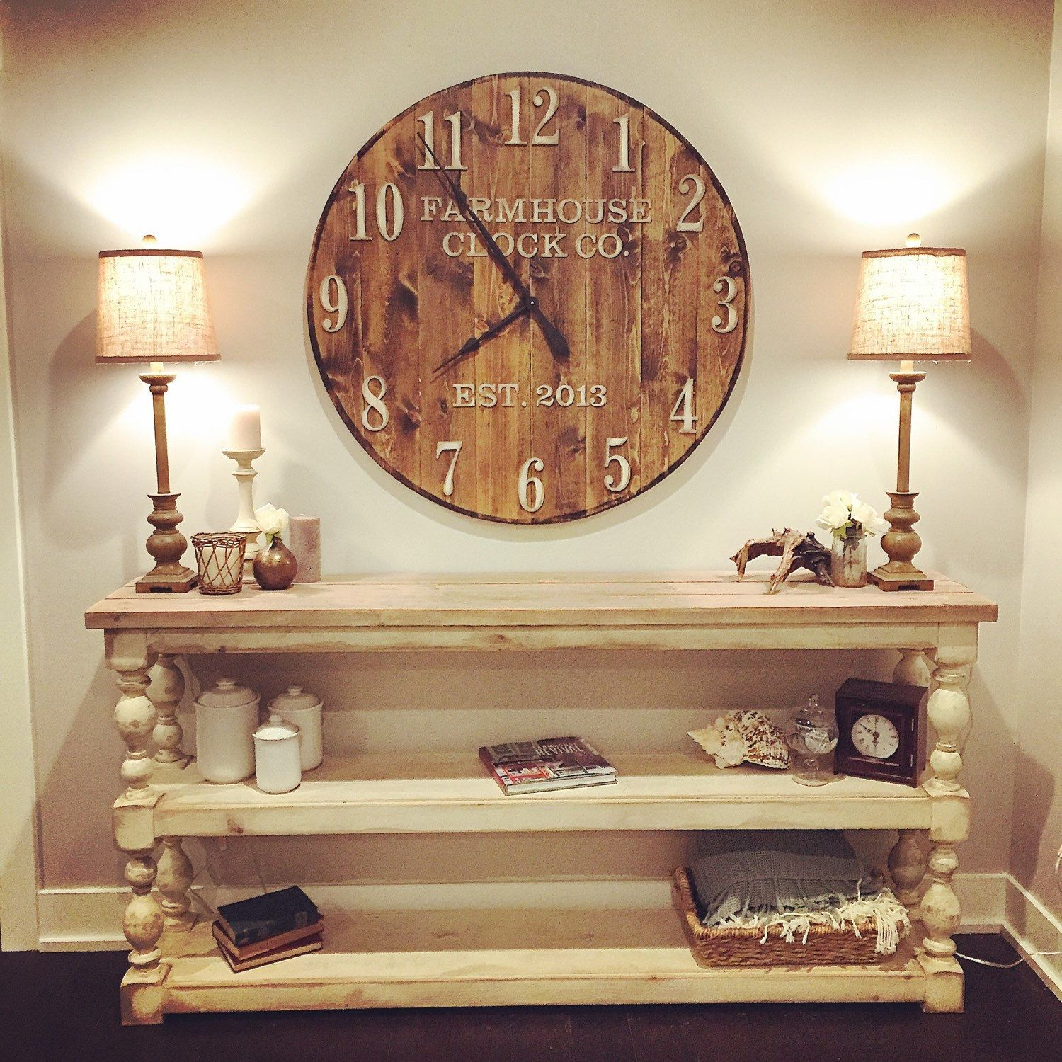 Extra Large Decorative Wall Clocks farmhouse clock co. standard numeral wooden wall clock | farmhouse