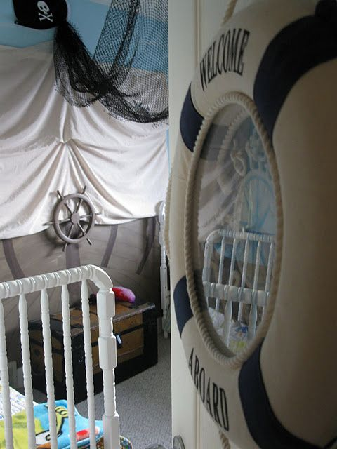 Blog post about a little kids room revamp, pirate themed