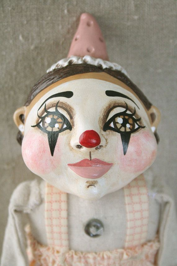 Pink Primitive Clown Doll  Sweet Vintage by millercampbell on Etsy, $110.00
