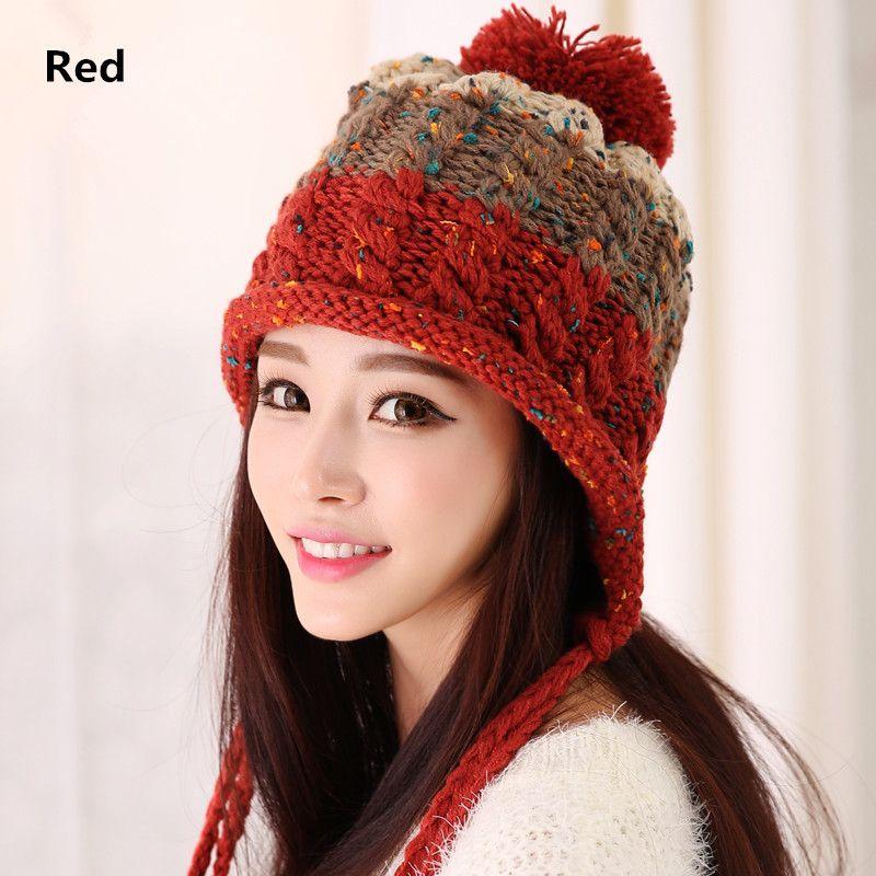 50ef337ea46e62 Knit ear flap hat Hairball decoration winter hats for women | Шапки ...