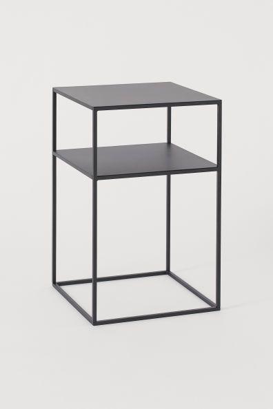 Black Metal Bedside Tables: Square Metal Side Table In 2020