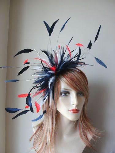 Large Feather Fascinator Red White   Blue  282749fc4f7