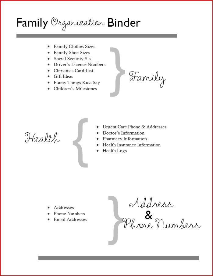 home management binder table of contents family health and contact