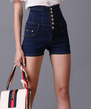 d7f6d7895b9 Look at this  zulilyfind! Blue Denim Crisscross Shorts  zulilyfinds ...
